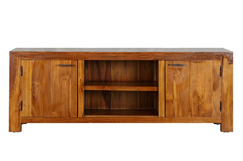 Solid teak rustic wood TV console