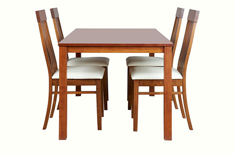 Wooden dining set with white seat cushion chairs