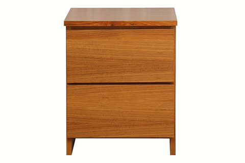 teak color ply wood bed side table with 2 drawers