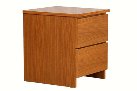 teak color wooden bed side table with 2 drawers
