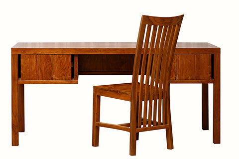 A pair of solid teak wood desk and chair