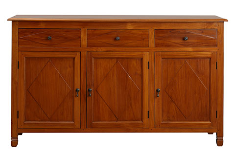 Solid teak wood chest of drawers vintage design