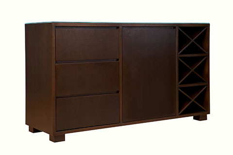 buffet sideboard american walnut color with wine rack design