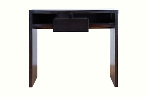 console table with open drawers
