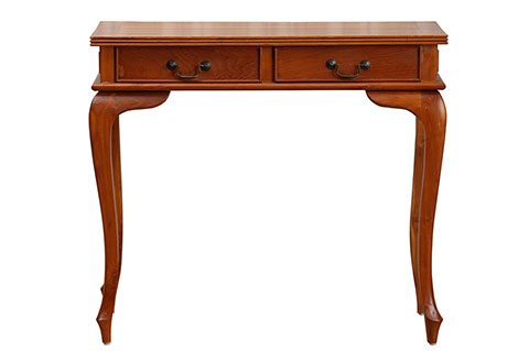 Solid teak console table with two drawers