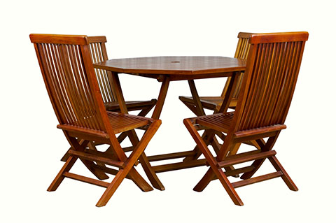 Solid teak outdoor table and chairs