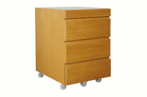 natural wood color mobile pedestal for writing desk