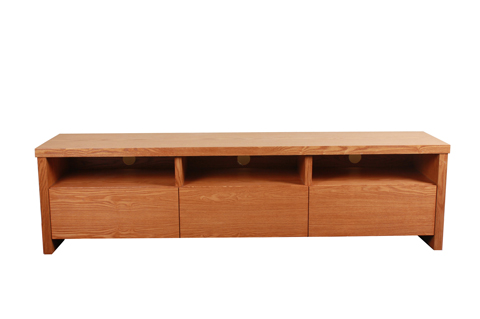 Wooden TV console with 3 compartments