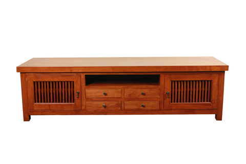 Solid teak wood TV console