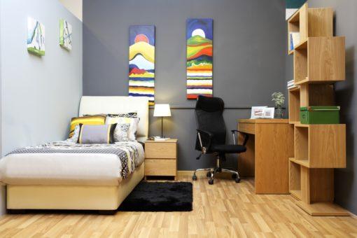 natural wooden light color bedroom setup for single